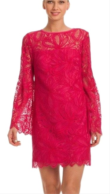 Item - Fuchsia Nery Lace Shift Mid-length Short Casual Dress Size 4 (S)