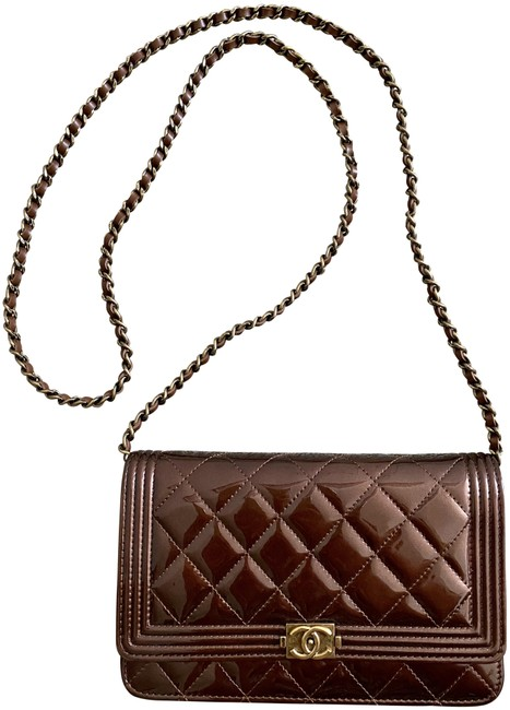 Item - Wallet on Chain Boy Iridescent Bronze Patent Leather Cross Body Bag