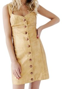 Free People short dress Gold Leather on Tradesy