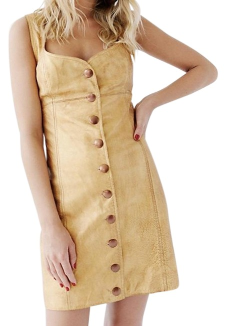 Item - Gold Goldie Leather Button-up Short Casual Dress Size 10 (M)