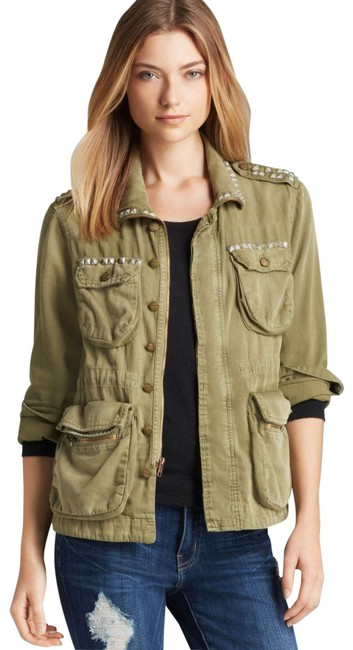 Item - Green Lone Soldier Army Studded Jacket Size 0 (XS)