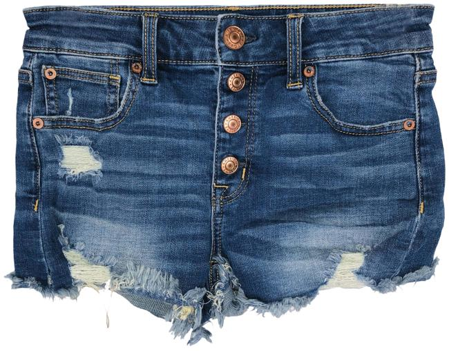 Item - Blue Exposed Button Fly Hi Rise Denim Shorts Size 0 (XS, 25)