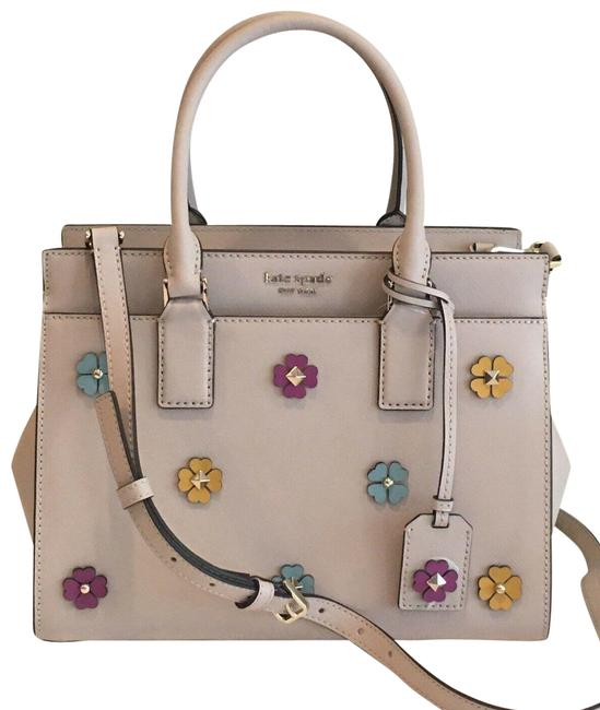 Item - Medium Cameron Flower Warm Beige Leather Satchel