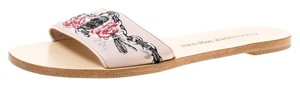 Alexander McQueen Embroidered Leather Flat Pink Sandals