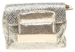 Jimmy Choo Silver Leather Glitter Mini Gold Clutch