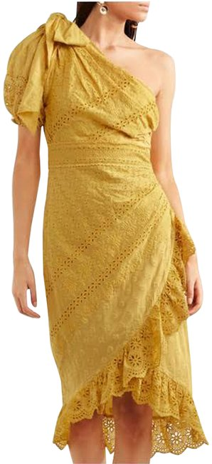 Item - Yellow Gwyneth Eyelet Embroidered Midi Mid-length Night Out Dress Size 6 (S)