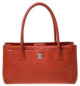 Chanel Fabric Leather Tote in Orange