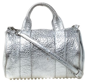 Alexander Wang Fabric Leather Satchel in Silver