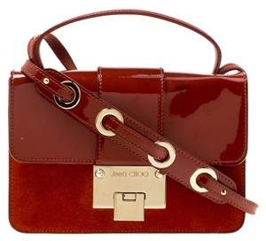 Jimmy Choo Patent Leather Suede Alcantara Brown Clutch