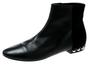 Balenciaga Leather Suede Studded Ankle Black Boots