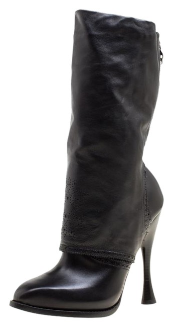 Item - Black Perforated Leather Mid Calf Boots/Booties Size US 7.5 Regular (M, B)