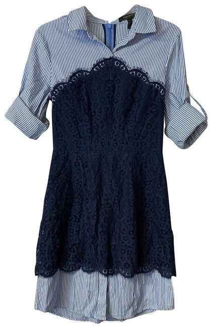 Item - Blue Roll Tab Sleeves Navy Lace Stripes Cotton Short Casual Dress Size 4 (S)