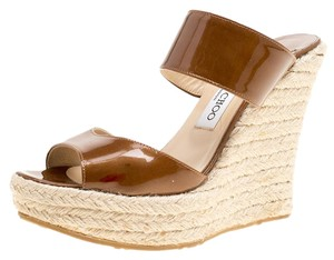 Jimmy Choo Patent Leather Espadrille Wedge Brown Sandals