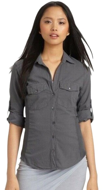 James Perse Gray Standard Contrast Panel Button Shirt Button-down Top Size 4 (S) James Perse Gray Standard Contrast Panel Button Shirt Button-down Top Size 4 (S) Image 1