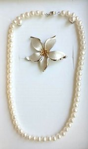 Luperla Brand New Set of 6mm Cultured Pearl Necklace, Earrings and Brooch