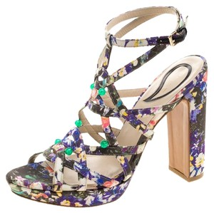 Etro Leather Strappy Multicolor Sandals