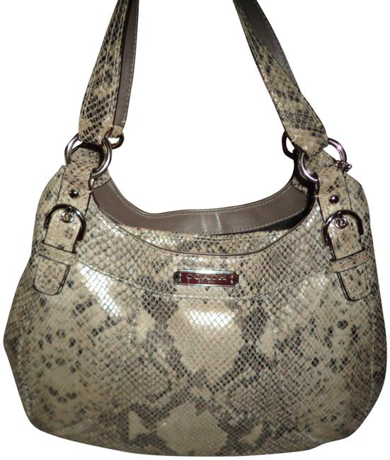 Coach Embossed Python Silver/Gray Snakeskin Leather Shoulder Bag Coach Embossed Python Silver/Gray Snakeskin Leather Shoulder Bag Image 1