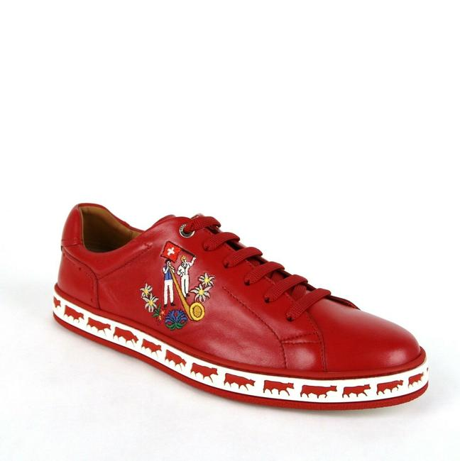 Bally Corvette Red Leather Low-top Sneakers Animal Collection Us 9/Eu Shoes Bally Corvette Red Leather Low-top Sneakers Animal Collection Us 9/Eu Shoes Image 1
