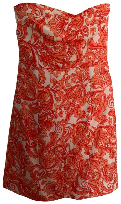 Item - Orange Strapless Linen Short Casual Dress Size 6 (S)