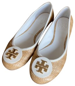 Tory Burch straw and white Flats