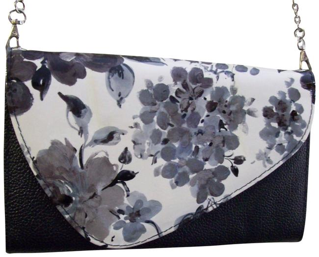Item - Watercolors Flowers Artistic Handbag Long Silver Chai Black Gray White Faux Leather Clutch