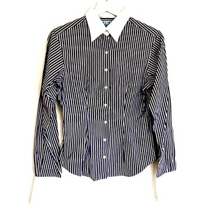 Thomas Pink Striped Contrast Button Down Shirt Navy