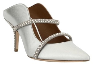 Malone Souliers Silver with Crystals Mules