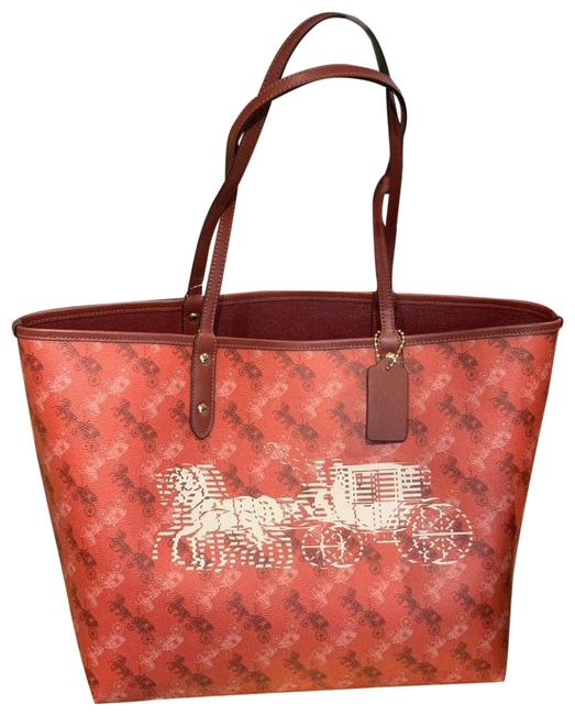 Item - City Reversible with Horse and Carriage Print Im/Bright Red/Cherry Multi Leather Tote