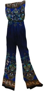 bailey blue Strapless Jumpsuit Retro Seventies Groovy Hippie Disco Super Flare Pants Blue