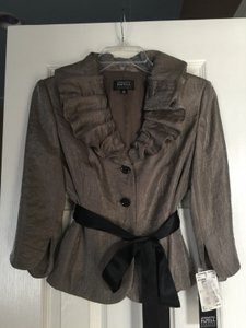 Adrianna Papell Taupe And Black 031836552 Evening Blazer/jacket Dress
