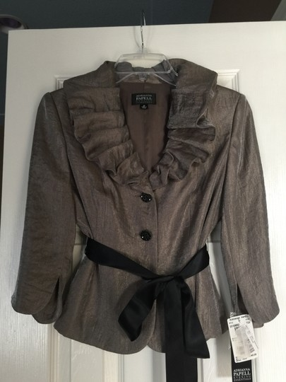 Adrianna Papell Taupe and Black Rayon/Polyester/Nylon Evening Jacket Formal Dress Size Petite 4 (S)
