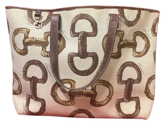 Item - Chain Horsebit Cream Brown Gg Pattern Shoulder Bag