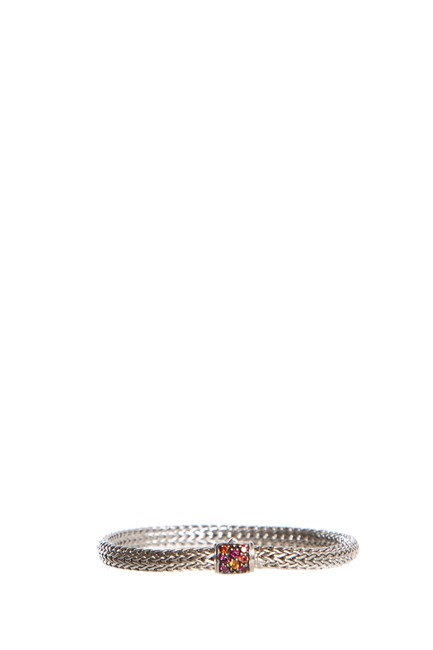 Item - Silver Diamond Braided Link Bracelet