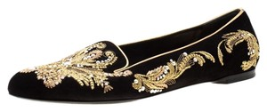 Alexander McQueen Suede Embroidered Leather Black Flats