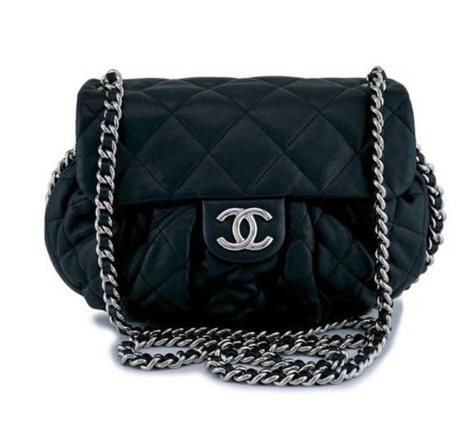 Chanel Crossbody Chain Quilted Chain Around Black Lambskin Leather Shoulder Bag Chanel Crossbody Chain Quilted Chain Around Black Lambskin Leather Shoulder Bag Image 1