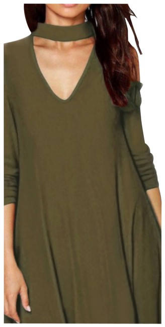 Item - Green Tie Accents Sleeve Long V-neck & Chocker Short Casual Dress Size 6 (S)