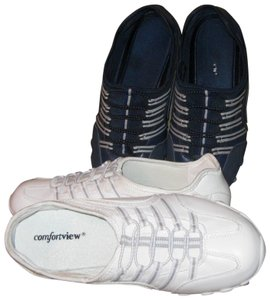 Comfortview No Laces Slip On Extra Wide 8-1/12ww Navy and White Athletic