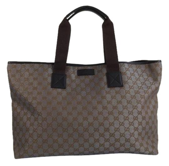 Preload https://item4.tradesy.com/images/gucci-monogram-silver-metallic-and-dark-khaki-canvas-tote-2704123-0-2.jpg?width=440&height=440