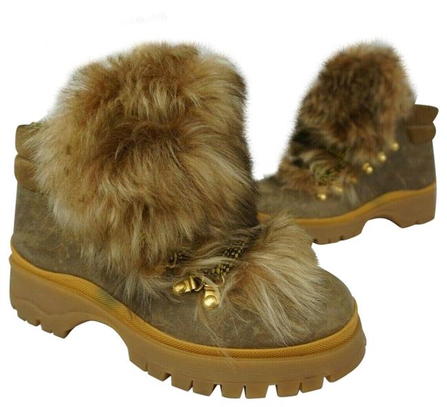 Item - Beige Natural Leather Shearling Fur Trim Hiking Lace-up Boots/Booties Size EU 36 (Approx. US 6) Regular (M, B)