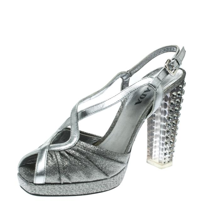 Item - Silver Fabric and Leather Crystal Embellished Slingback Sandals Size US 5.5 Regular (M, B)