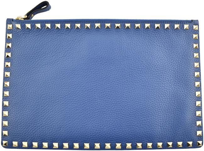 Item - Rockstud 988 Pebble Gold Spike Stud Large Pouch Blue Leather Clutch