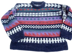 Unique Vintage Hand Knit Tribal Native Pattern Geometric Chunky Sweater