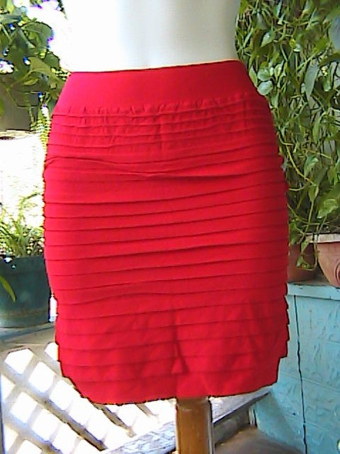 Unknown Stretch Seamless Pencil Mini Skirt Red