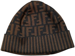Fendi Zucca Logo Wool Black & Brown Beanie