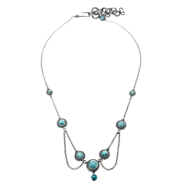 Item - Blue Turquoise Bead Embedded Antique Silver Tone Choker Necklace