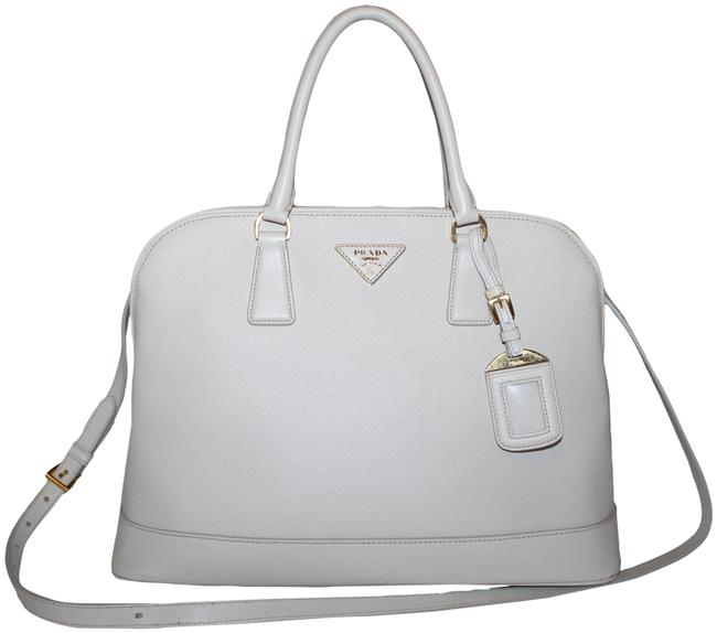 Item - Bag Double Lux Handle Large White Saffiano Leather Tote