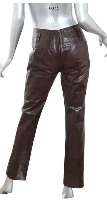 Item - Dark Brown Leather Pant Suit Size 4 (S)