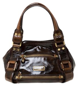 Jimmy Choo Patent Leather Satchel in Brown