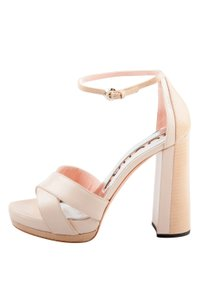 Rochas Leather Platform Beige Sandals