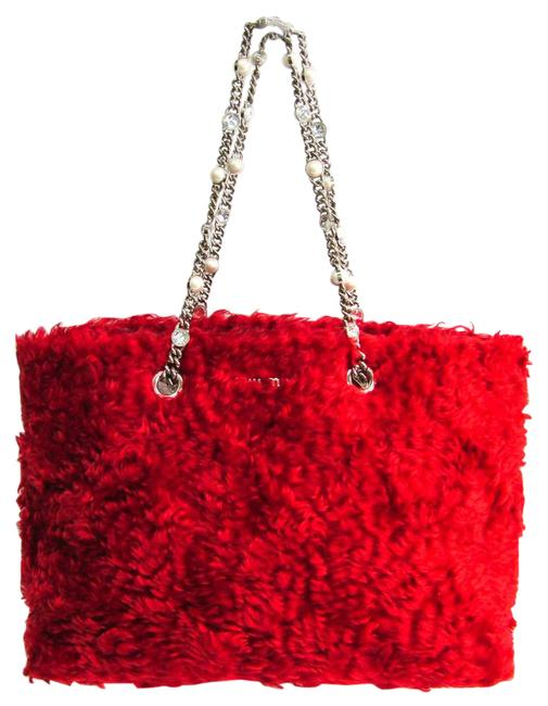 Item - Bag Eco Shearling Artificial Pearl Chain 5bg024 Women's Red Color Mohair / Cotton Tote